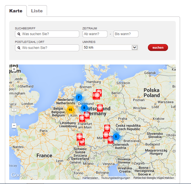 Google-Map mit Legende - info.carinet.de